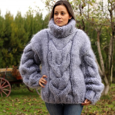 hand-knit-mohair-sweater-light-gray-fuzzy-turtleneck-heavy-weight-10-strands
